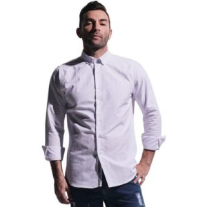 Long Sleeve Oxford Shirt with Trim