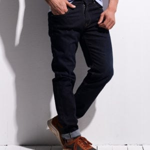 Dark Blue Jeans with Yellow Stitching
