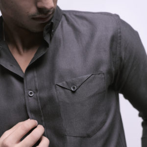 Long Sleeve Shirt with Button on Side Pocket
