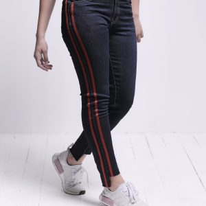 Blue Slim Fit Denim with Side Red Stripes