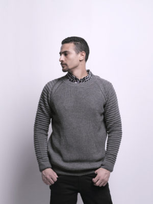 Texture Knit Pullover with Crew Neck