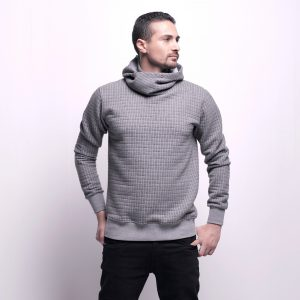 Sweatshirt with Side Hoodie Carreaux Pattern