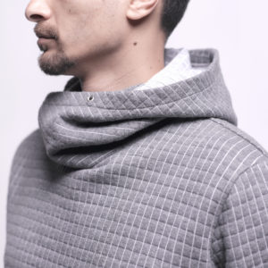 Sweatshirt with Side Hoodie Carreaux Pattern