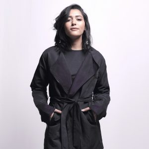 Long Black Jacket with Side Zipper