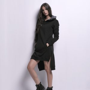 Black Sweatshirt Dress with Side Slits