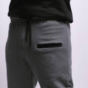 Melton Sweatpants with Side Stripe & Side Zipper