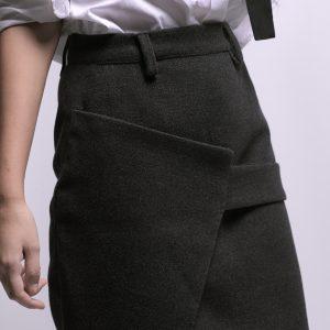 Grey Short Skirt with Belt