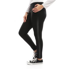 Black Legging With Side Leather Stripe