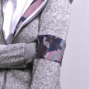Melton Jacket with Contrast Fabric on Arms