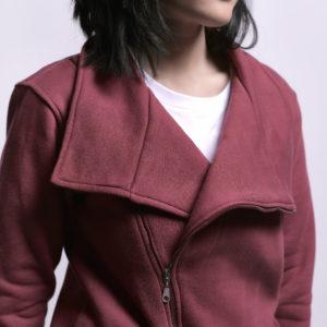 Melton Jacket with Side Zipper