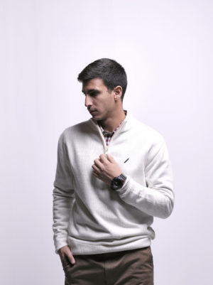 Pullover with Zipper & Rib