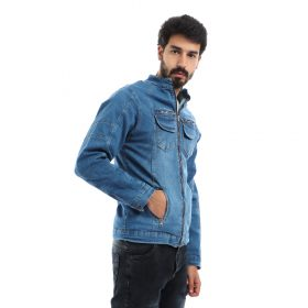 Denim Jacket with Fur