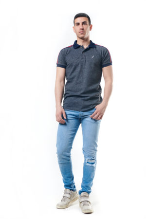 Polo Shirt With Stripe Shoulder