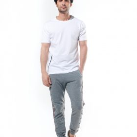 Sweat Pant With Side Stripe & Buttons