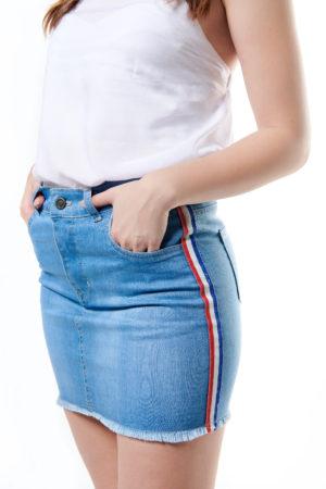 Side Stripe Denim Mini Skirt