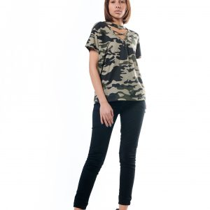 Army Lace-Up T-Shirt - Green, Medium