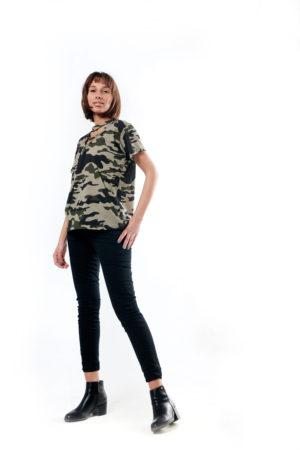 Army Lace-Up T-Shirt - Green, Medium