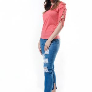 Lace-Up Sleeve T-Shirt