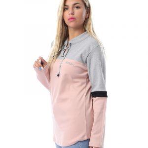 Contrast Bands On Sleeve Sweatshirt