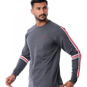Contrast Stripe Sleeve Sweatshirt