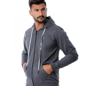 Basic Hooded Sweatshirt With Zipper
