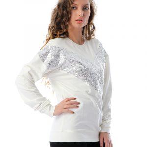 Contrast Sequin Panel Sweatshirt
