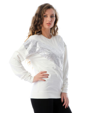 Contrast Sequin Panel Sweatshirt