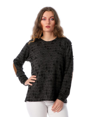 Holes Underneath Sweatshirt With Elbow Patch
