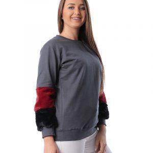 Contrast Faux Fur Sweatshirt