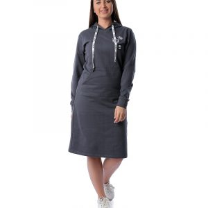 Patched Hoodie Dress With Pockets
