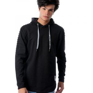 Pleated Sweatshirt With Hoodie