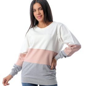 Color-block Sweatshirt With Neck Tie Back