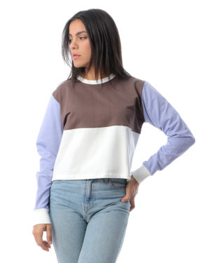 Cropped Color-Block Sweatshirt