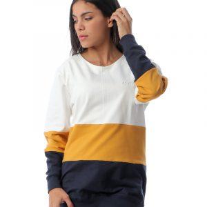Color-block Sweatshirt With Neck Tie Back