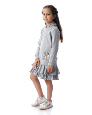 Casual Dress With Embroidered Flower And Ruffles