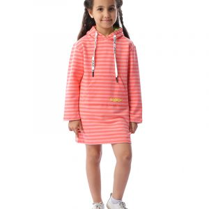 Striped Hoodie Dress With Pockets