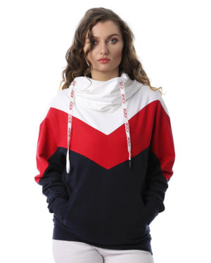 Hoodie Sweatshirt With Strip On Sleeve