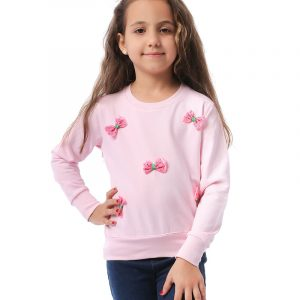 Sweatshirt With Bow Applique For Girls