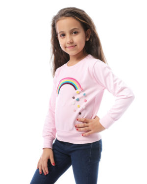 Rainbow Sweatshirt With Buttons For Girls
