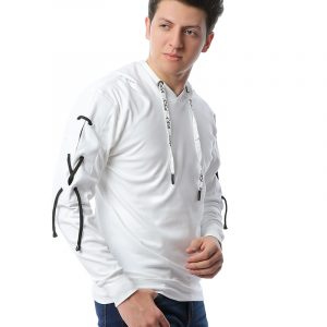 Sweatshirt With Cross Tape On Sleeve