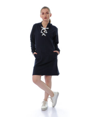 Lace-Up Dress With Pockets