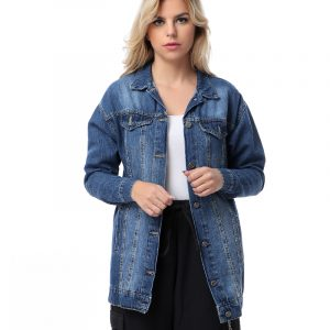 Oversize Long Denim Jacket With Back Lace-up