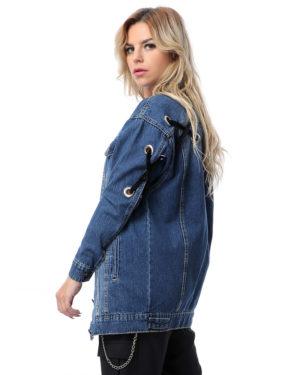 Oversize Long Denim Jacket With Back Lace-up