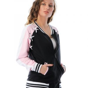 Bomber Jacket With Lace-Up Striped Sleeve