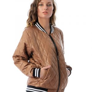Quilted Bomber Jacket With Contrast Striped Trim