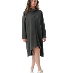 Turtle Neck Dress With Front Zipper Statement
