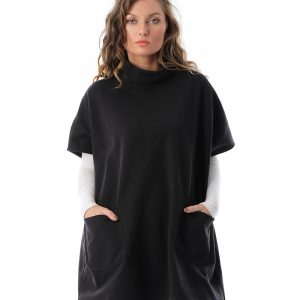Half Sleeve Dress With Front Statement Pockets