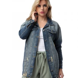 Oversize Long Denim Jacket For Women