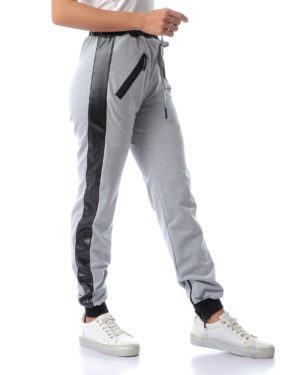 Sweatpants With Leather Stripe For Women