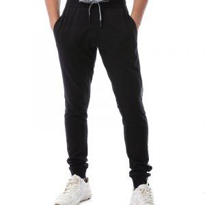 Melton Sweatpants With Faux Leather Stripe